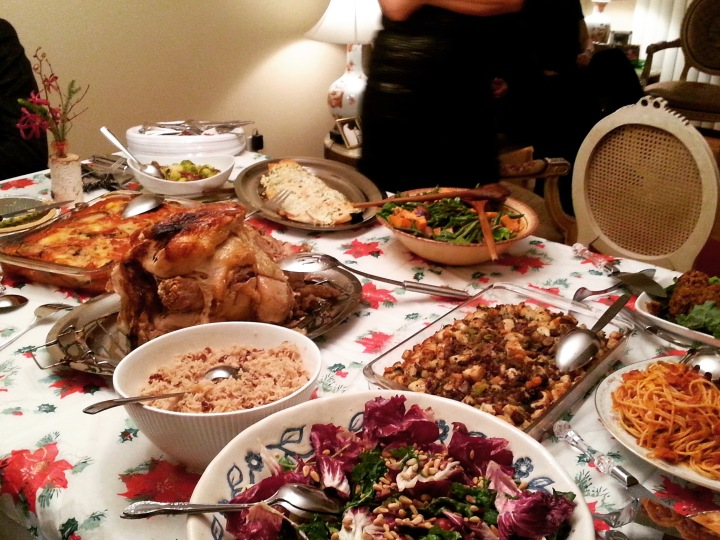 Christmas dinner at my house (turkey, gravy, Brussels sprouts, cranberry sauce)
