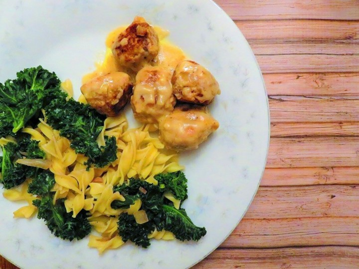 Swedish meatballs with pasta and kale